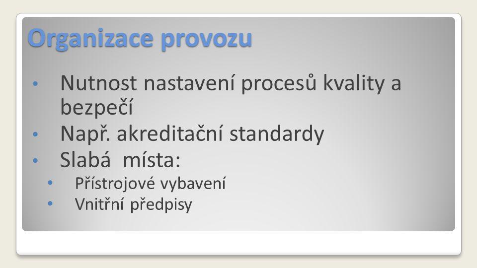 Organizace provozu Nutnost nastavení procesů kvality a bezpečí Např. akreditační standardy Slabá místa: Přístrojové vybavení Vnitřní předpisy