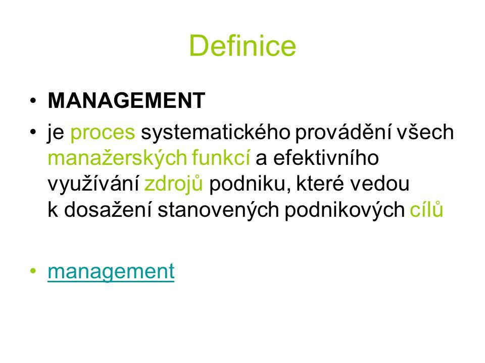 Definice MANAGEMENT je proces systematického provádění všech manažerských funkcí a efektivního využívání zdrojů podniku, které vedou k dosažení stanovených podnikových cílů management