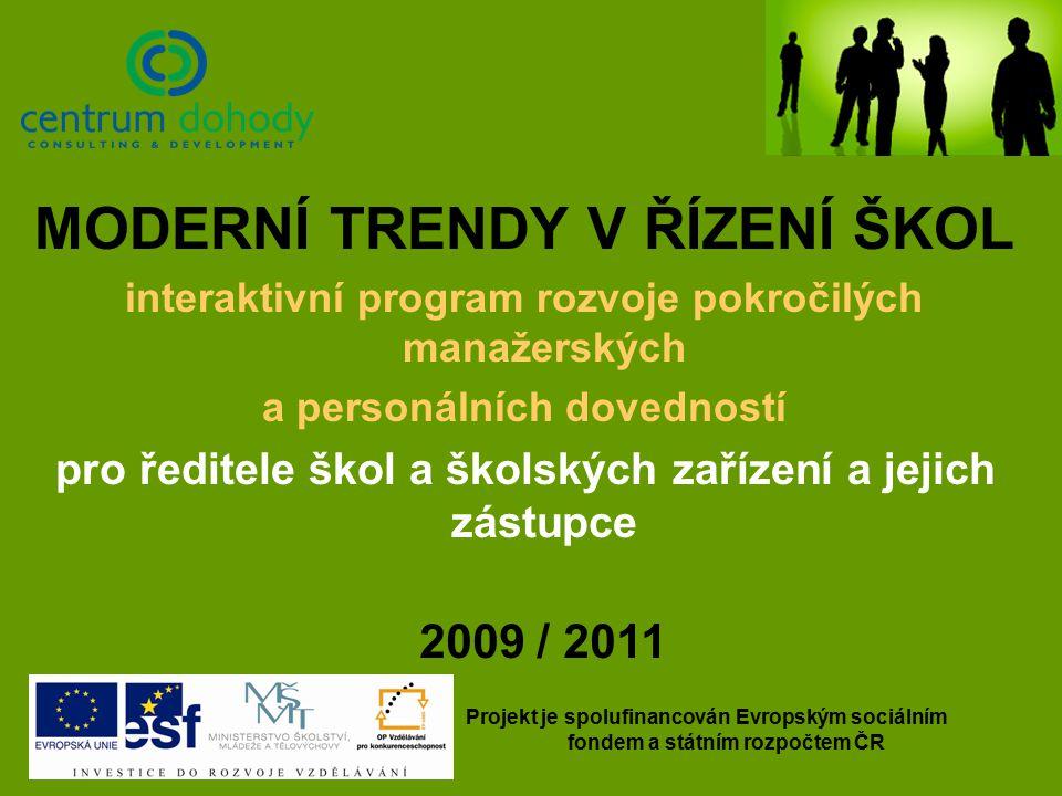 MODERNÍ TRENDY V ŘÍZENÍ ŠKOL interaktivní program rozvoje pokročilých manažerských a personálních dovedností pro ředitele škol a školských zařízení a jejich zástupce 2009 / 2011 Projekt je spolufinancován Evropským sociálním fondem a státním rozpočtem ČR