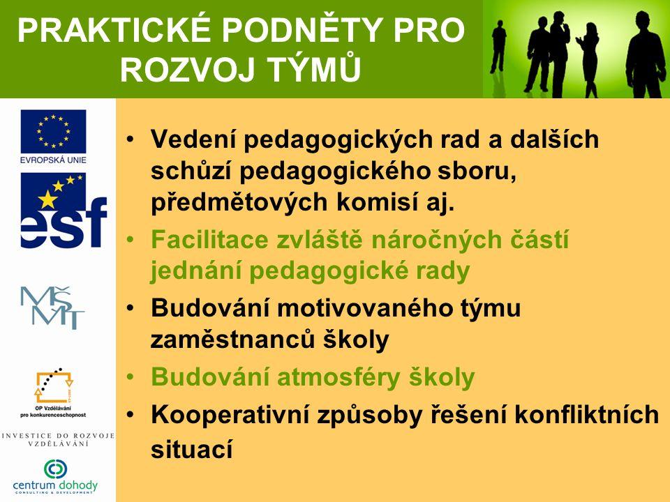 PRAKTICKÉ PODNĚTY PRO ROZVOJ TÝMŮ Vedení pedagogických rad a dalších schůzí pedagogického sboru, předmětových komisí aj. Facilitace zvláště náročných