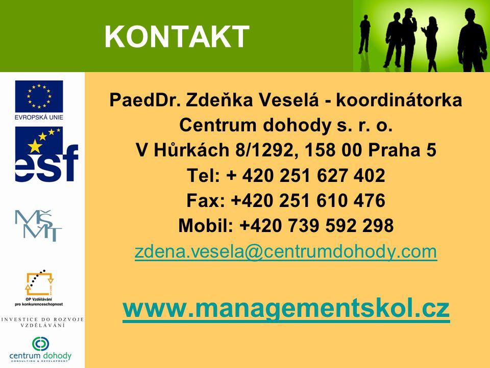 KONTAKT PaedDr. Zdeňka Veselá - koordinátorka Centrum dohody s.