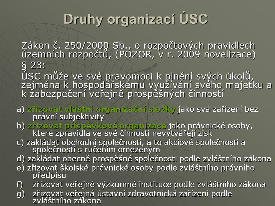 Druhy organizací ÚSC Zákon č. 250/2000 Sb., o rozpočtových pravidlech územních rozpočtů, (POZOR, v r. 2009 novelizace) § 23: ÚSC může ve své pravomoci
