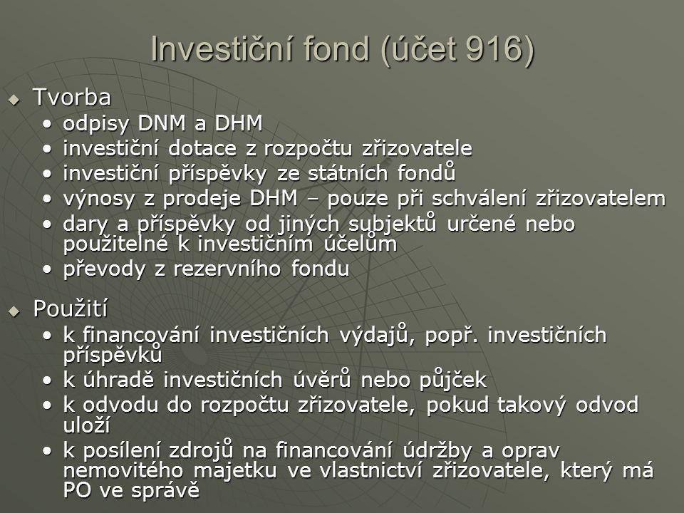 Investiční fond (účet 916)  Tvorba odpisy DNM a DHModpisy DNM a DHM investiční dotace z rozpočtu zřizovateleinvestiční dotace z rozpočtu zřizovatele