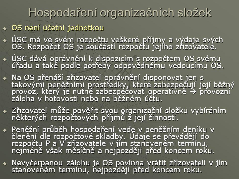 Hospodaření organizačních složek  OS není účetní jednotkou  ÚSC má ve svém rozpočtu veškeré příjmy a výdaje svých OS. Rozpočet OS je součástí rozpoč
