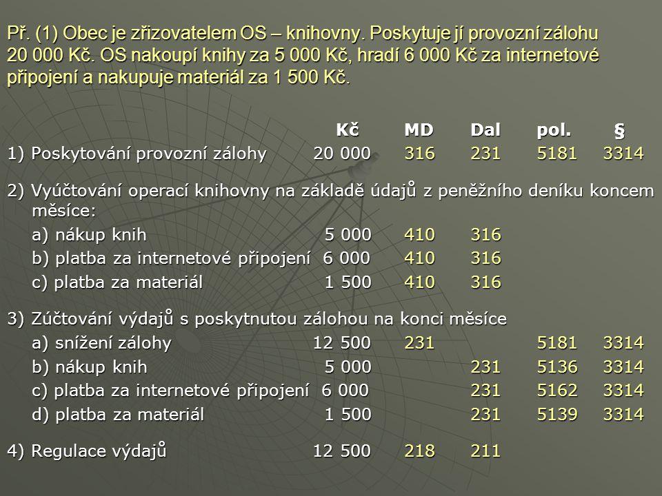 Př. (1) Obec je zřizovatelem OS – knihovny. Poskytuje jí provozní zálohu 20 000 Kč. OS nakoupí knihy za 5 000 Kč, hradí 6 000 Kč za internetové připoj