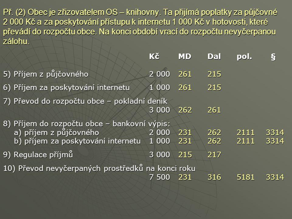 Př. (2) Obec je zřizovatelem OS – knihovny. Ta přijímá poplatky za půjčovné 2 000 Kč a za poskytování přístupu k internetu 1 000 Kč v hotovosti, které