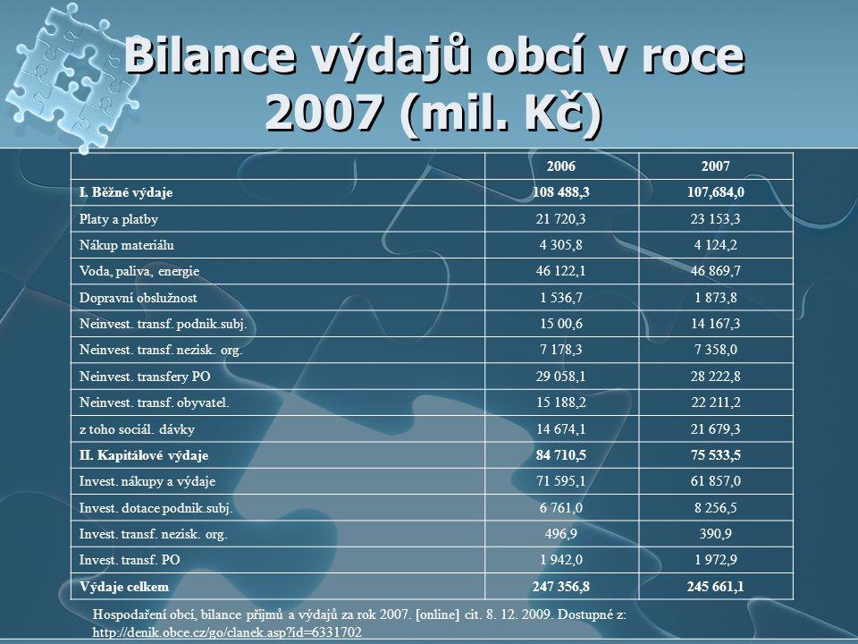 Bilance výdajů obcí v roce 2007 (mil. Kč) 20062007 I. Běžné výdaje108 488,3107,684,0 Platy a platby21 720,323 153,3 Nákup materiálu4 305,84 124,2 Voda