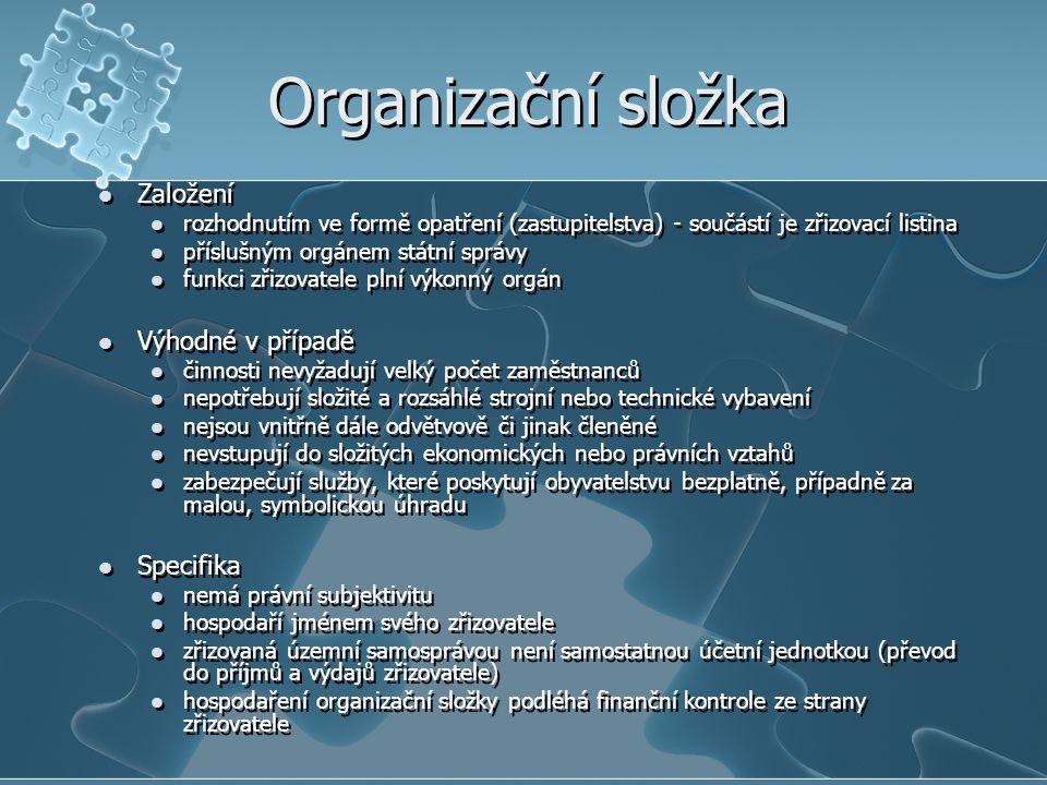 Organizační složka Založení rozhodnutím ve formě opatření (zastupitelstva) - součástí je zřizovací listina příslušným orgánem státní správy funkci zři