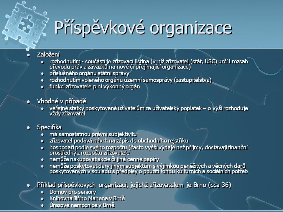Příspěvkové organizace Založení rozhodnutím - součástí je zřizovací listina (v níž zřizovatel (stát, ÚSC) určí i rozsah převodu práv a závazků na nové