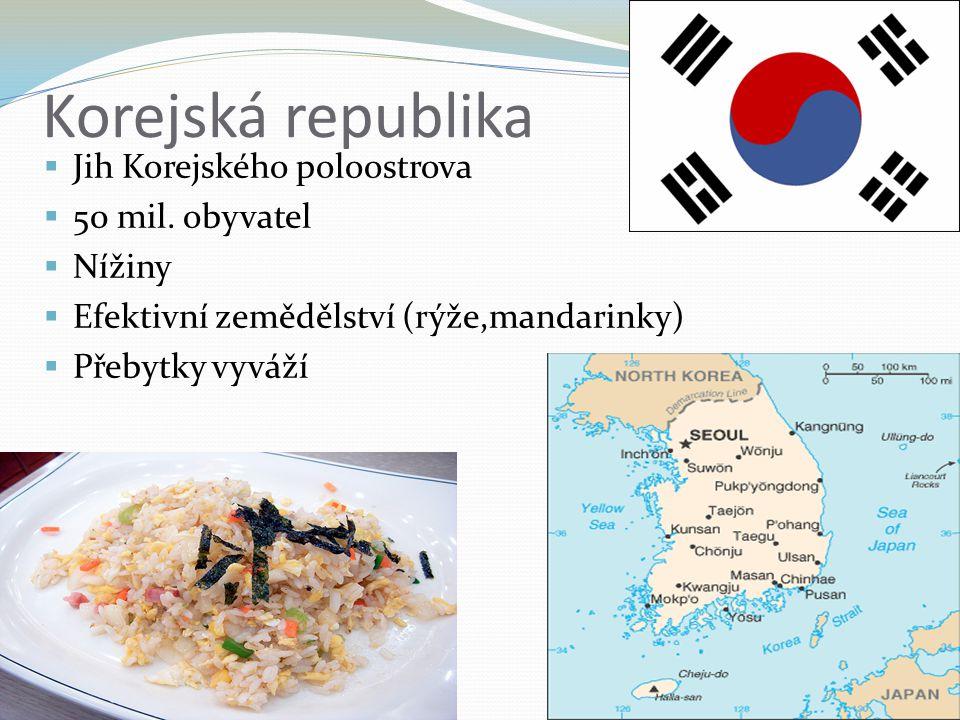 Korejská republika  Jih Korejského poloostrova  50 mil. obyvatel  Nížiny  Efektivní zemědělství (rýže,mandarinky)  Přebytky vyváží