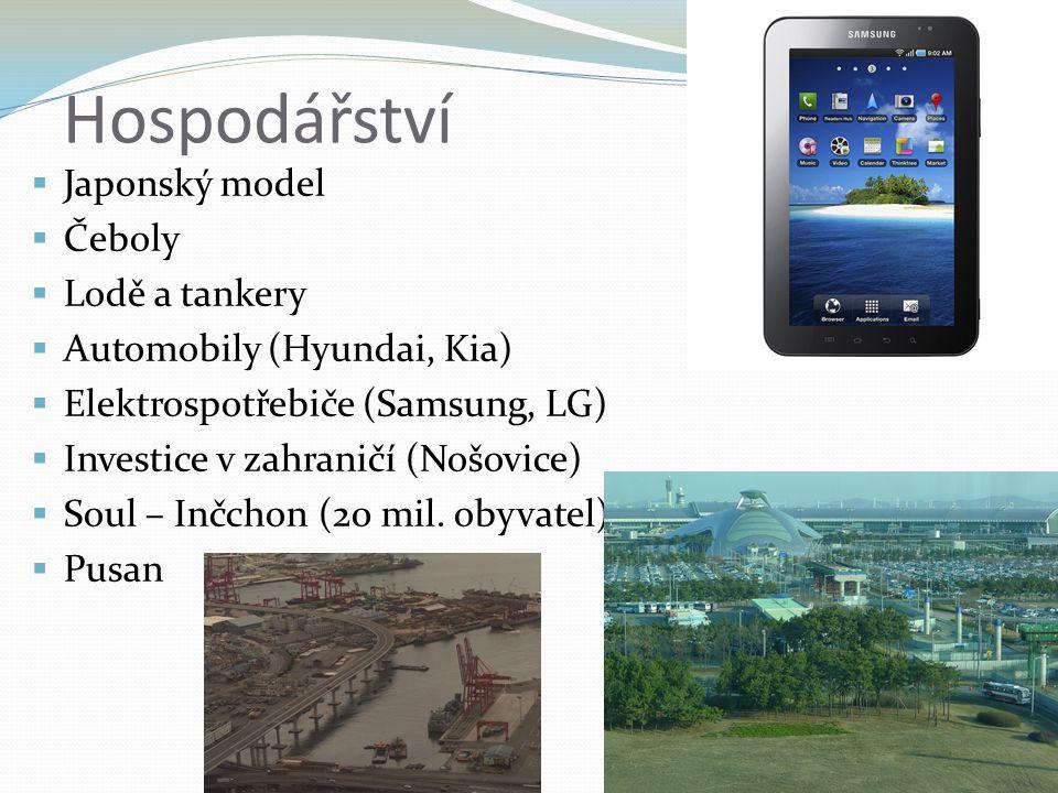 Hospodářství  Japonský model  Čeboly  Lodě a tankery  Automobily (Hyundai, Kia)  Elektrospotřebiče (Samsung, LG)  Investice v zahraničí (Nošovic