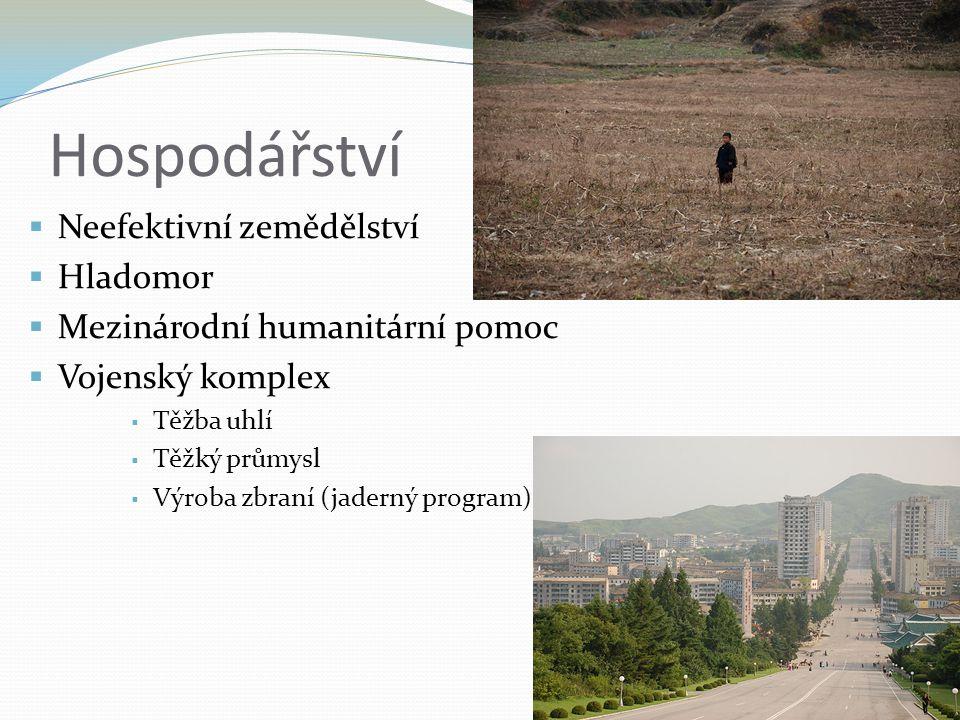 Hospodářství  Neefektivní zemědělství  Hladomor  Mezinárodní humanitární pomoc  Vojenský komplex  Těžba uhlí  Těžký průmysl  Výroba zbraní (jad