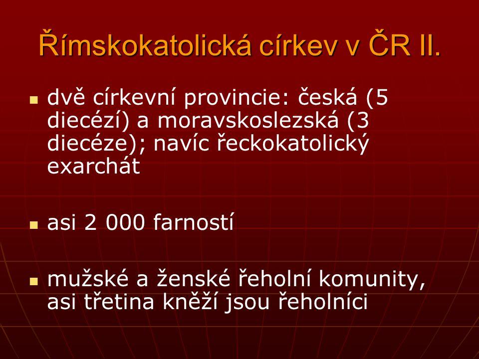 Římskokatolická církev v ČR I. podle sčítání lidu z r. 2011 činí počet jejích členů 1 000 000 osob doprovázena početně malou církvi řeckokatolickou (a