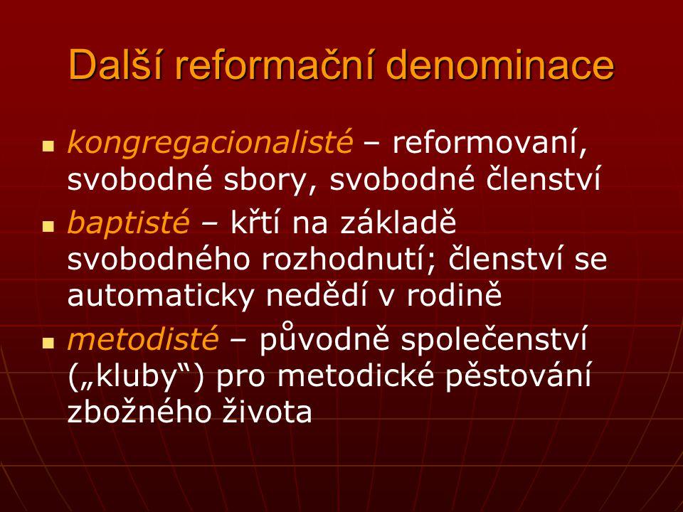 Tradiční církve reformačního typu luteráni, asi 85 000 000, Německo, Skandinávie, menšiny jinde reformovaní, asi 85 000 000, rozptýleni jako menšiny p