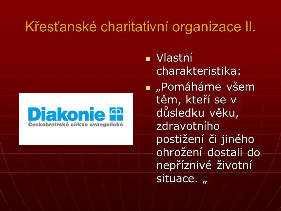 Křesťanské charitativní organizace I. Organizace římskokatolické církve Organizace římskokatolické církve Sociální a zdravotní služby, pomoc cizincům,