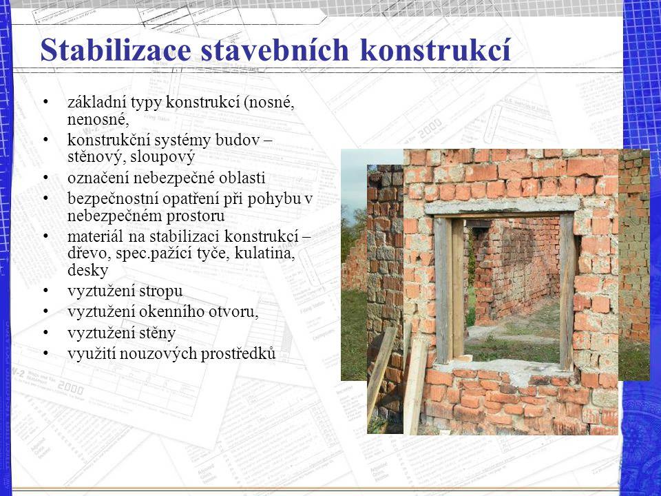 Stabilizace stavebních konstrukcí základní typy konstrukcí (nosné, nenosné, konstrukční systémy budov – stěnový, sloupový označení nebezpečné oblasti
