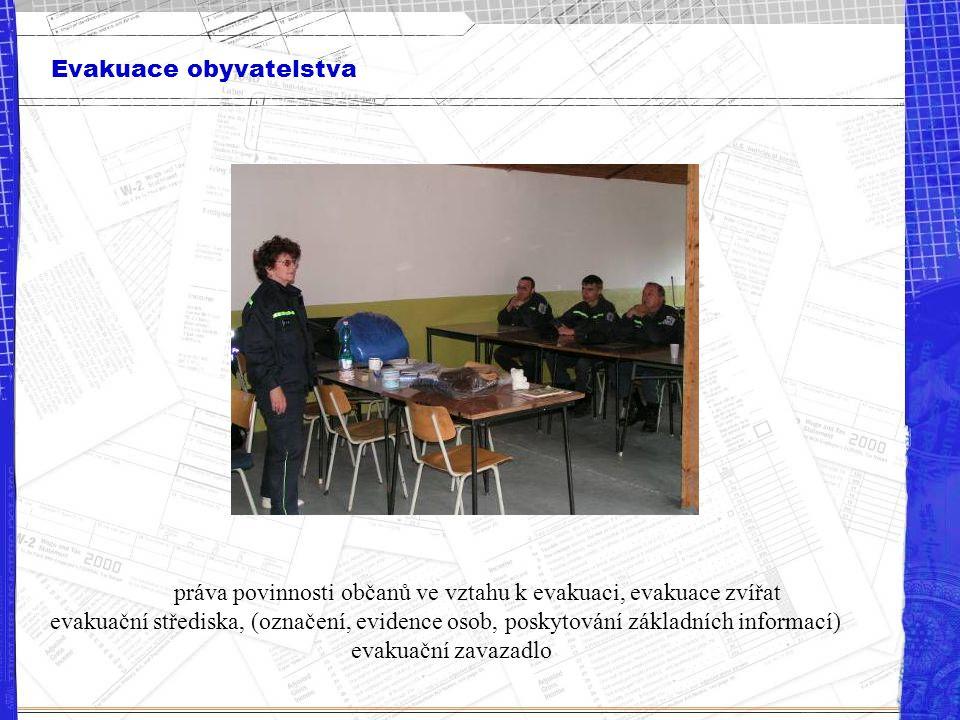Evakuace obyvatelstva práva povinnosti občanů ve vztahu k evakuaci, evakuace zvířat evakuační střediska, (označení, evidence osob, poskytování základn