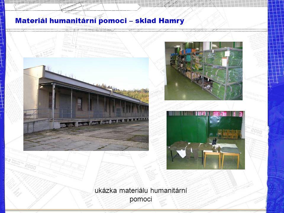 Materiál humanitární pomoci – sklad Hamry ukázka materiálu humanitární pomoci