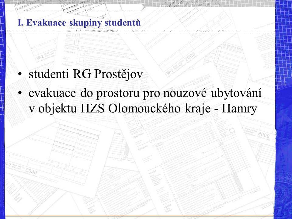 I. Evakuace skupiny studentů studenti RG Prostějov evakuace do prostoru pro nouzové ubytování v objektu HZS Olomouckého kraje - Hamry