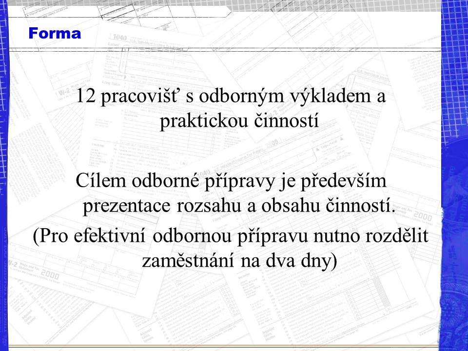 Forma 12 pracovišť s odborným výkladem a praktickou činností Cílem odborné přípravy je především prezentace rozsahu a obsahu činností. (Pro efektivní