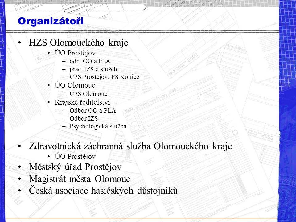 Organizátoři HZS Olomouckého kraje ÚO Prostějov –odd. OO a PLA –prac. IZS a služeb –CPS Prostějov, PS Konice ÚO Olomouc –CPS Olomouc Krajské ředitelst