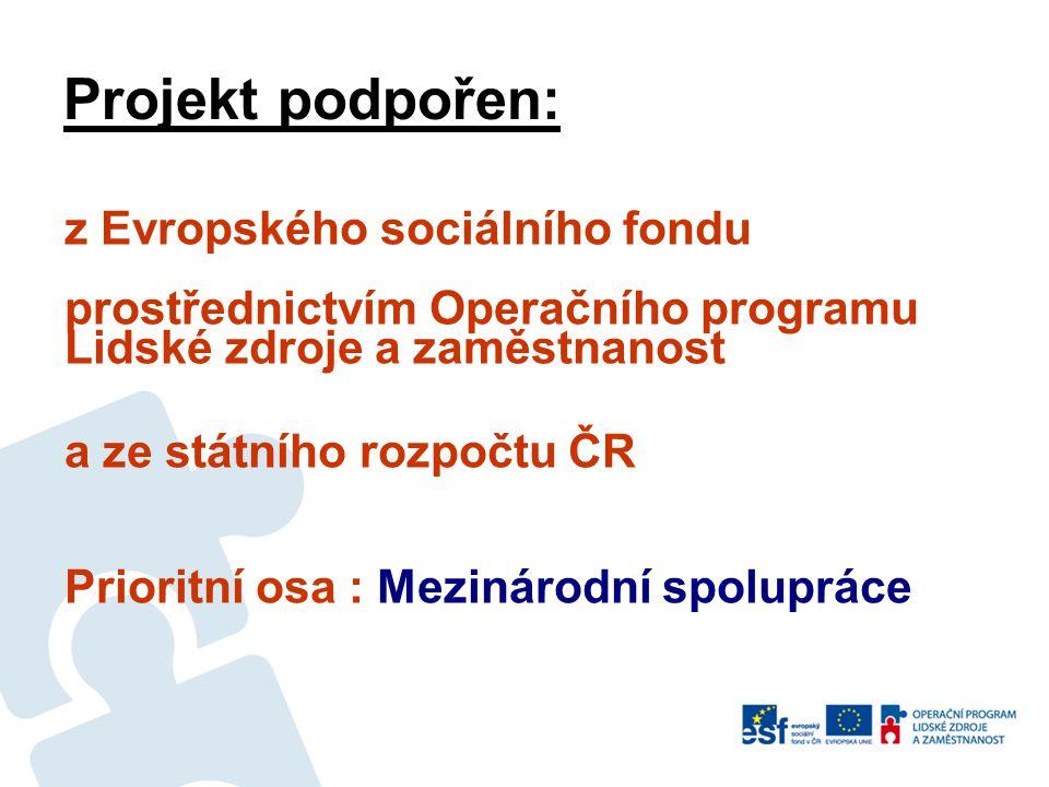 Projekt podpořen: z Evropského sociálního fondu prostřednictvím Operačního programu Lidské zdroje a zaměstnanost a ze státního rozpočtu ČR Prioritní osa : Mezinárodní spolupráce