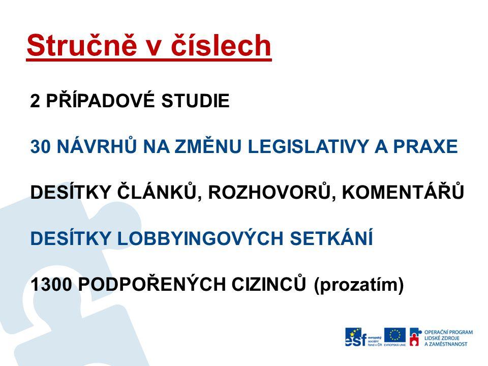 Cíle projektu 1 HLAVNÍ CÍL změnit nežádoucí neregulérní pobyt některých cizinců na území ČR pomocí REGULARIZACE ŘADA DALŠÍCH CÍLŮ - Přispět k lepšímu nastavení systému zaměstnávání cizinců - Pomoci cizincům v konkrétních případech - Přispět k integraci těch cizinců, co pobývají na území - Přenést příklady dobré praxe - Otevřít téma gravidních pracujících cizinek - Oživit veřejnou debatu