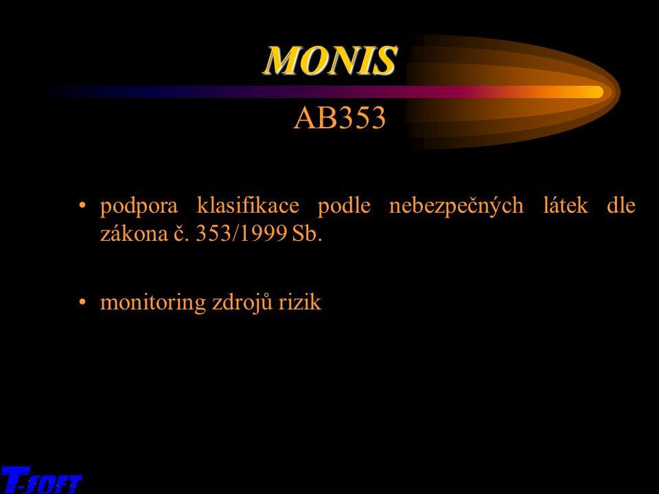 AB353 podpora klasifikace podle nebezpečných látek dle zákona č. 353/1999 Sb. monitoring zdrojů rizik x MONIS