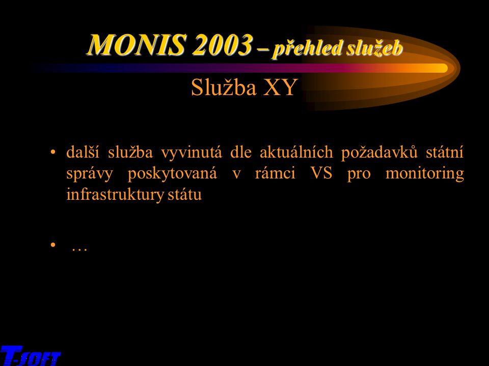 x Služba XY další služba vyvinutá dle aktuálních požadavků státní správy poskytovaná v rámci VS pro monitoring infrastruktury státu … MONIS 2003 – pře