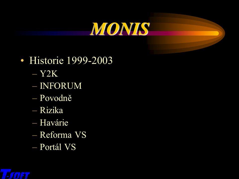 MONIS Historie 1999-2003 –Y2K –INFORUM –Povodně –Rizika –Havárie –Reforma VS –Portál VS