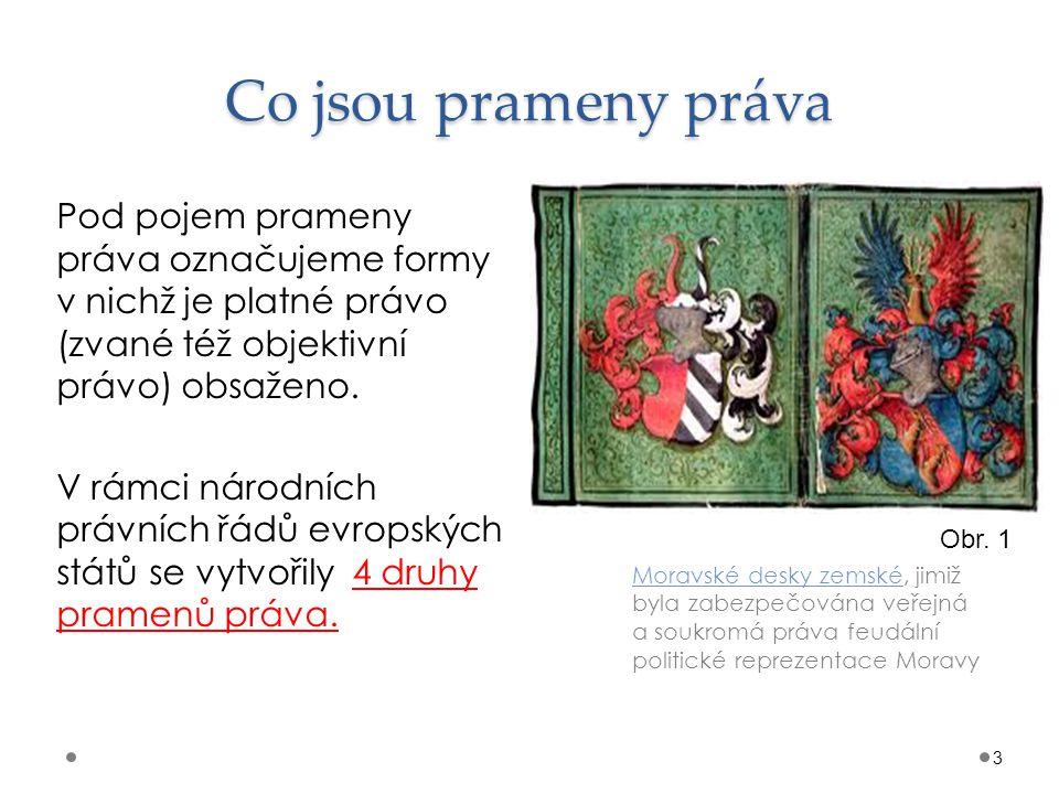 Co jsou prameny práva Moravské desky zemské, jimiž byla zabezpečována veřejná a soukromá práva feudální politické reprezentace Moravy 3 Pod pojem prameny práva označujeme formy v nichž je platné právo (zvané též objektivní právo) obsaženo.