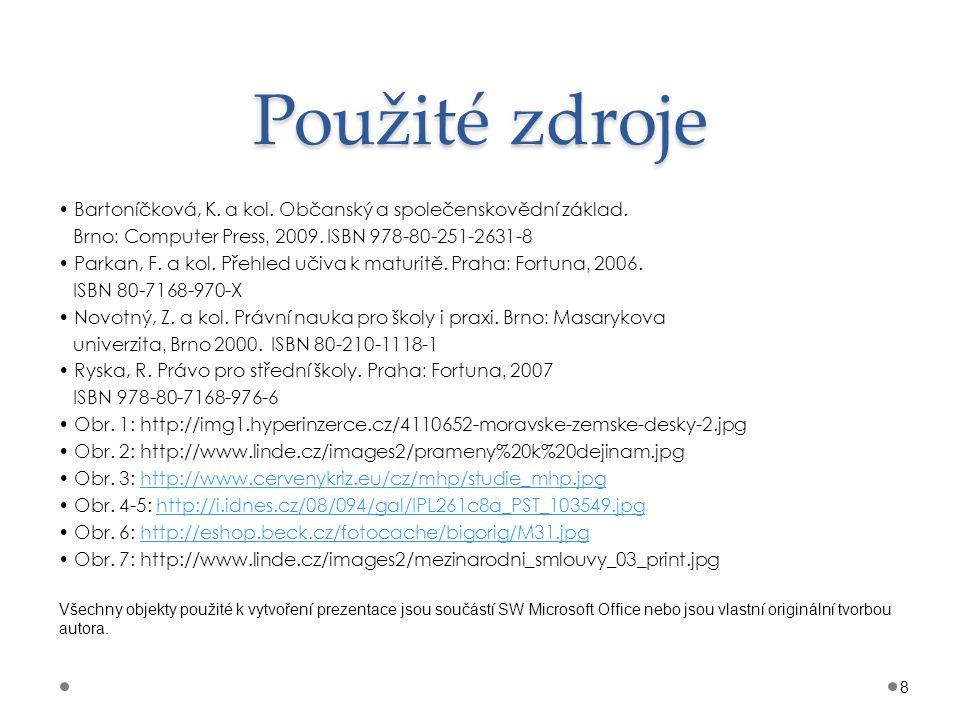 Použité zdroje Bartoníčková, K. a kol. Občanský a společenskovědní základ. Brno : Computer Press, 2009. ISBN 978-80-251-2631-8 Parkan, F. a kol. Přehl