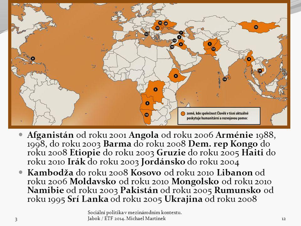 Afganistán od roku 2001 Angola od roku 2006 Arménie 1988, 1998, do roku 2003 Barma do roku 2008 Dem. rep Kongo do roku 2008 Etiopie do roku 2003 Gruzi