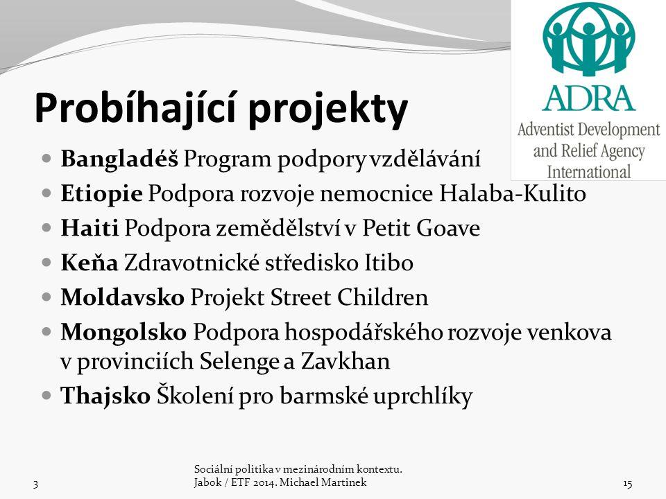Probíhající projekty Bangladéš Program podpory vzdělávání Etiopie Podpora rozvoje nemocnice Halaba-Kulito Haiti Podpora zemědělství v Petit Goave Keňa