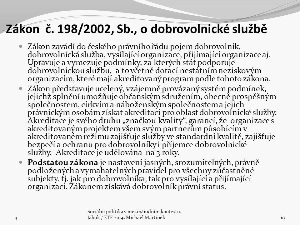 Zákon č. 198/2002, Sb., o dobrovolnické službě Zákon zavádí do českého právního řádu pojem dobrovolník, dobrovolnická služba, vysílající organizace, p