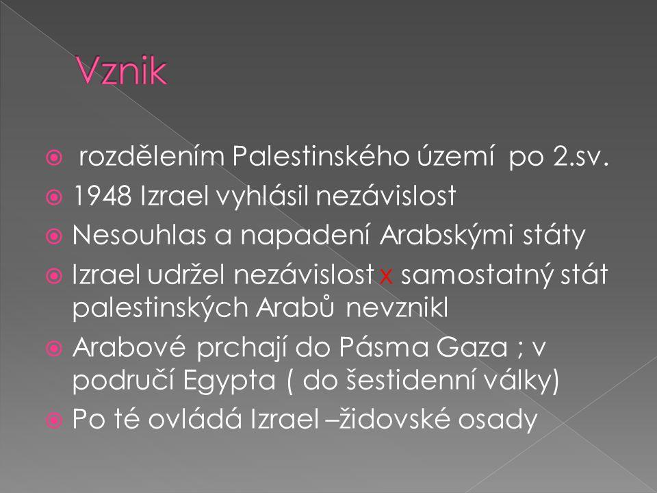  rozdělením Palestinského území po 2.sv.