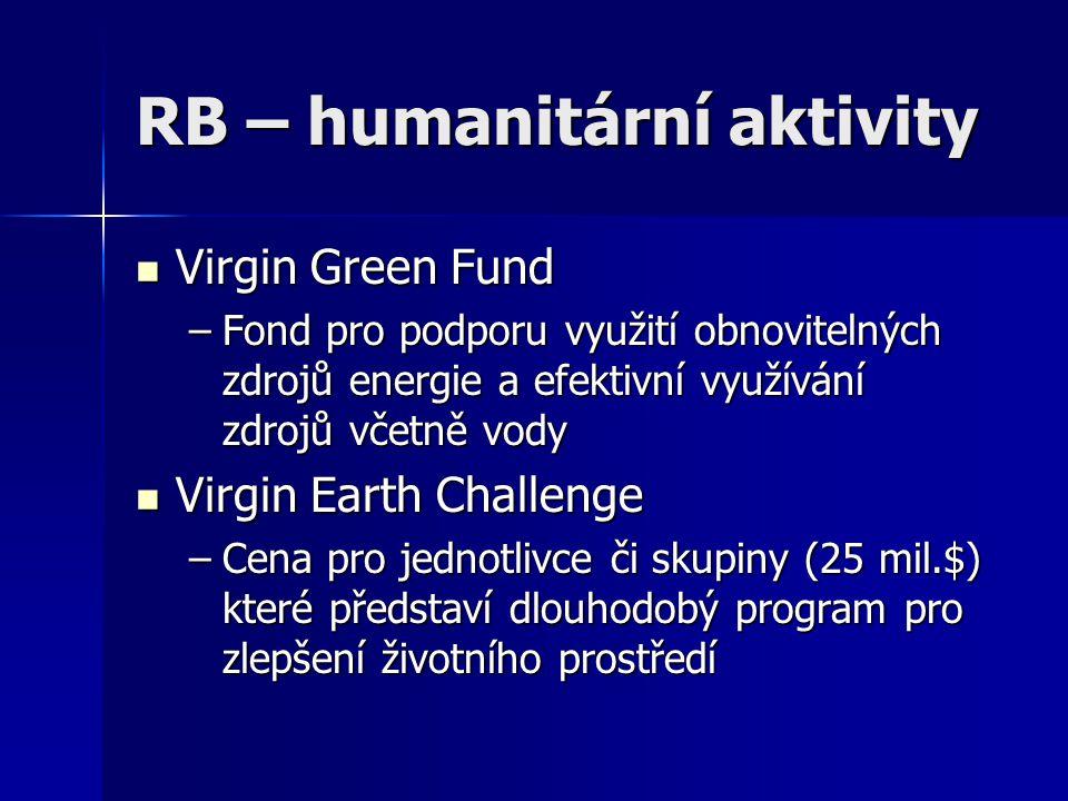 RB – humanitární aktivity Virgin Green Fund Virgin Green Fund –Fond pro podporu využití obnovitelných zdrojů energie a efektivní využívání zdrojů včet