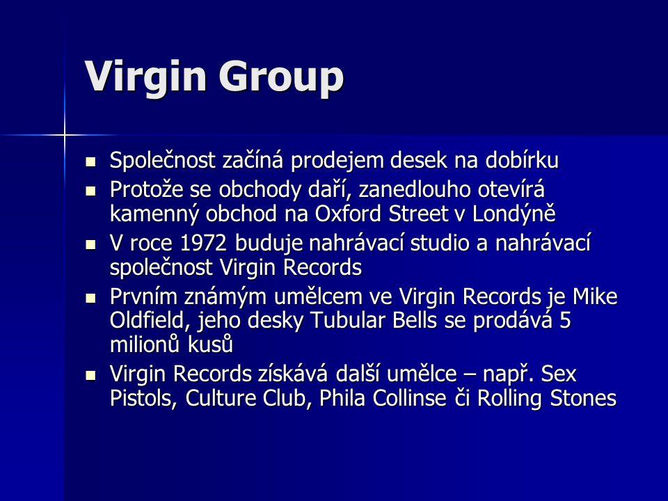 Virgin Group: V roce 1984 zakládá Branson Virgin Atlantic Airways V roce 1984 zakládá Branson Virgin Atlantic Airways 1992 – prodává Virgin Records firmě EMI za miliardu dolarů, později zakládá V2 Music 1992 – prodává Virgin Records firmě EMI za miliardu dolarů, později zakládá V2 Music 1993 – Virgin Trains, Virgin Radio 1993 – Virgin Trains, Virgin Radio 1999 – Virgin Mobile 1999 – Virgin Mobile 2000 – Virgin Blue 2000 – Virgin Blue V současnosti má společnost Virgin Group přes 400 firem na 5 kontinentech V současnosti má společnost Virgin Group přes 400 firem na 5 kontinentech