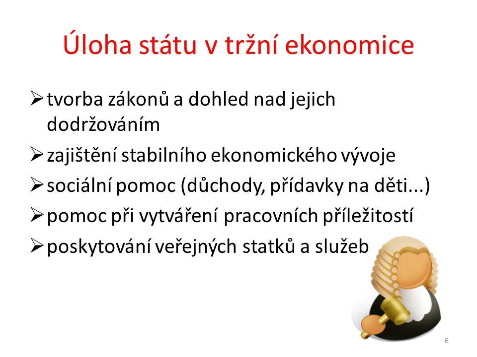 Úloha státu v tržní ekonomice  tvorba zákonů a dohled nad jejich dodržováním  zajištění stabilního ekonomického vývoje  sociální pomoc (důchody, přídavky na děti...)  pomoc při vytváření pracovních příležitostí  poskytování veřejných statků a služeb 6