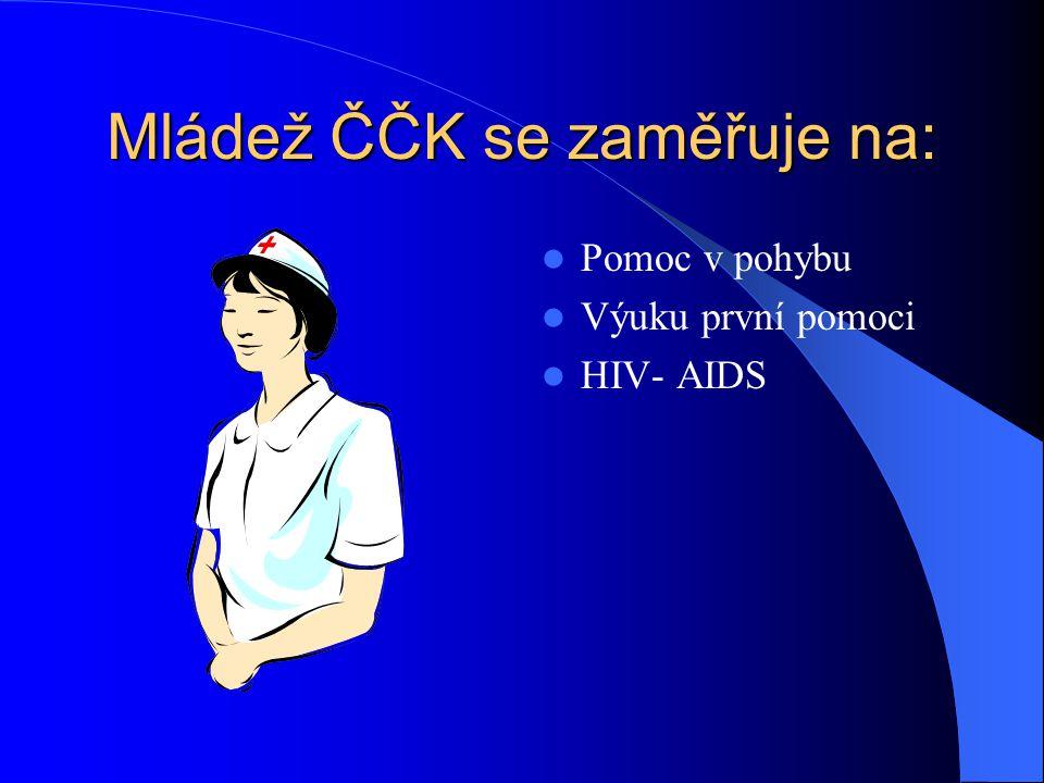 Složky ČČK : Mládež Českého červeného kříže Vodní záchranná služba ČČK Domácí ošetřovatelská péče ALICE