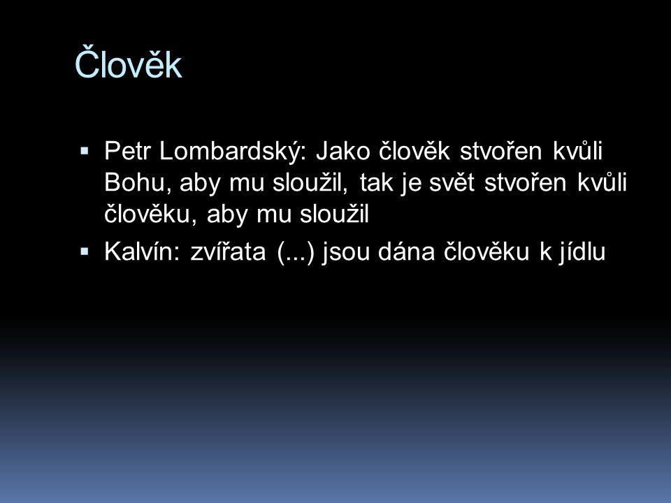 Člověk  Petr Lombardský: Jako člověk stvořen kvůli Bohu, aby mu sloužil, tak je svět stvořen kvůli člověku, aby mu sloužil  Kalvín: zvířata (...) jsou dána člověku k jídlu