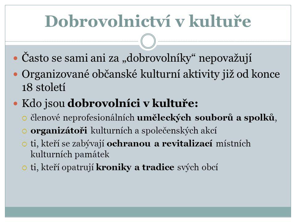 """Často se sami ani za """"dobrovolníky"""" nepovažují Organizované občanské kulturní aktivity již od konce 18 století Kdo jsou dobrovolníci v kultuře:  člen"""