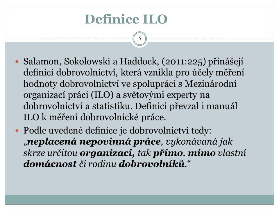 Definice ILO Salamon, Sokolowski a Haddock, (2011:225) přinášejí definici dobrovolnictví, která vznikla pro účely měření hodnoty dobrovolnictví ve spo