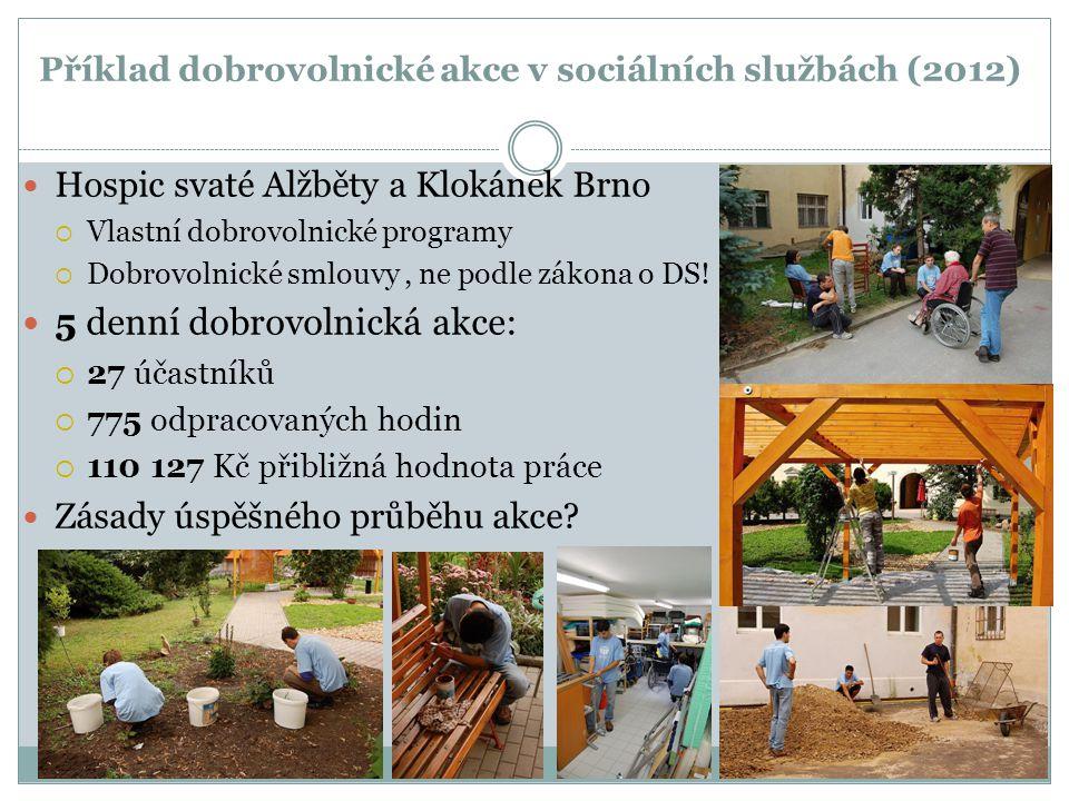 Příklad dobrovolnické akce v sociálních službách (2012) Hospic svaté Alžběty a Klokánek Brno  Vlastní dobrovolnické programy  Dobrovolnické smlouvy,