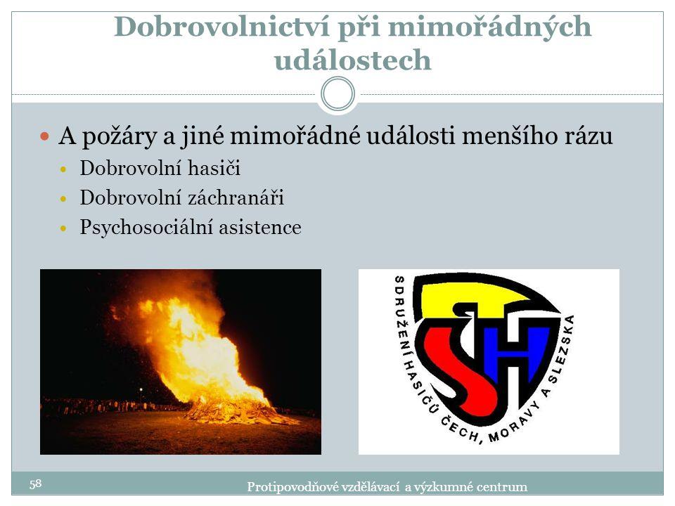 Dobrovolnictví při mimořádných událostech A požáry a jiné mimořádné události menšího rázu Dobrovolní hasiči Dobrovolní záchranáři Psychosociální asist