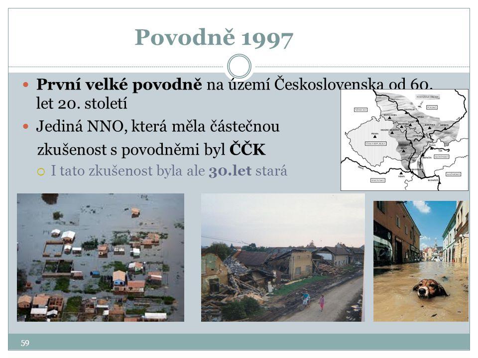 Povodně 1997 První velké povodně na území Československa od 60. let 20. století Jediná NNO, která měla částečnou zkušenost s povodněmi byl ČČK  I tat