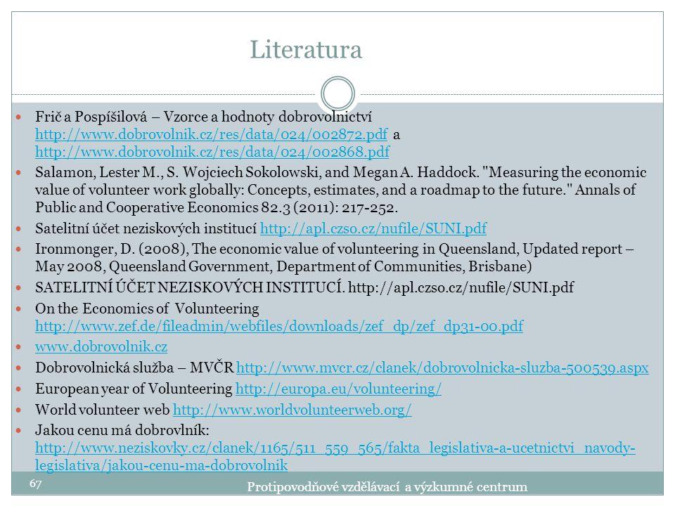 Literatura Frič a Pospíšilová – Vzorce a hodnoty dobrovolnictví http://www.dobrovolnik.cz/res/data/024/002872.pdf a http://www.dobrovolnik.cz/res/data
