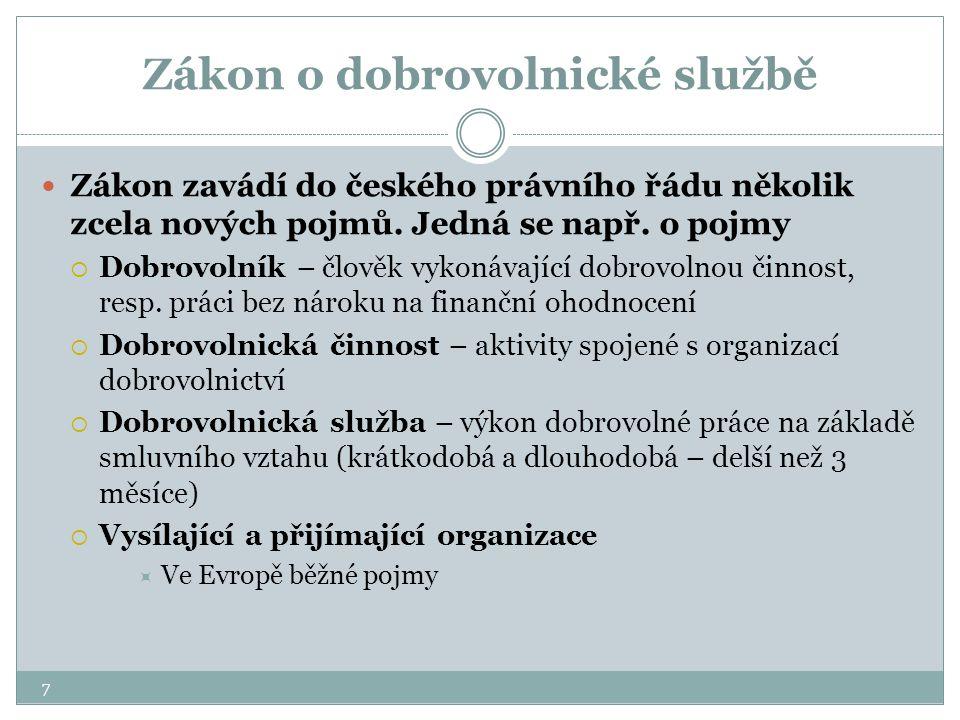 7 Zákon o dobrovolnické službě Zákon zavádí do českého právního řádu několik zcela nových pojmů. Jedná se např. o pojmy  Dobrovolník – člověk vykonáv