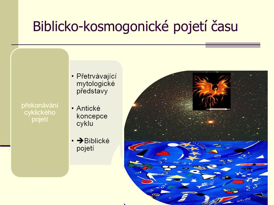 Biblicko-kosmogonické pojetí času Přetrvávající mytologické představy Antické koncepce cyklu  Biblické pojetí překonávání cyklického pojetí