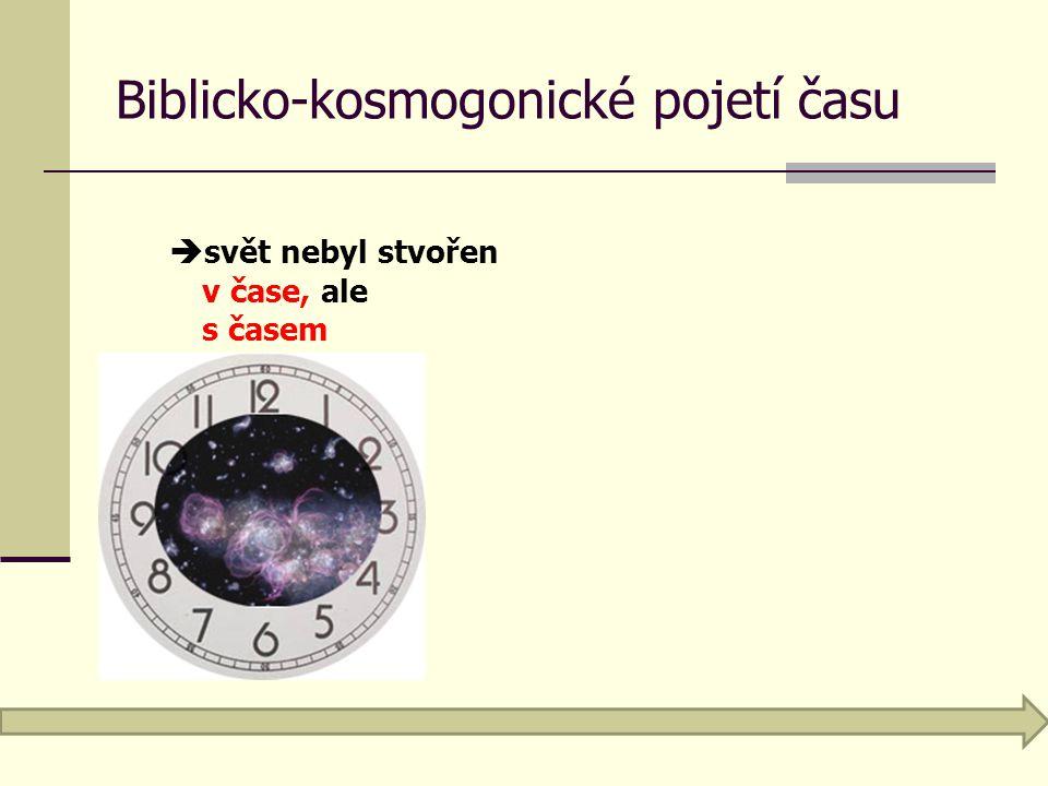 Biblicko-kosmogonické pojetí času  svět nebyl stvořen v čase, ale s časem